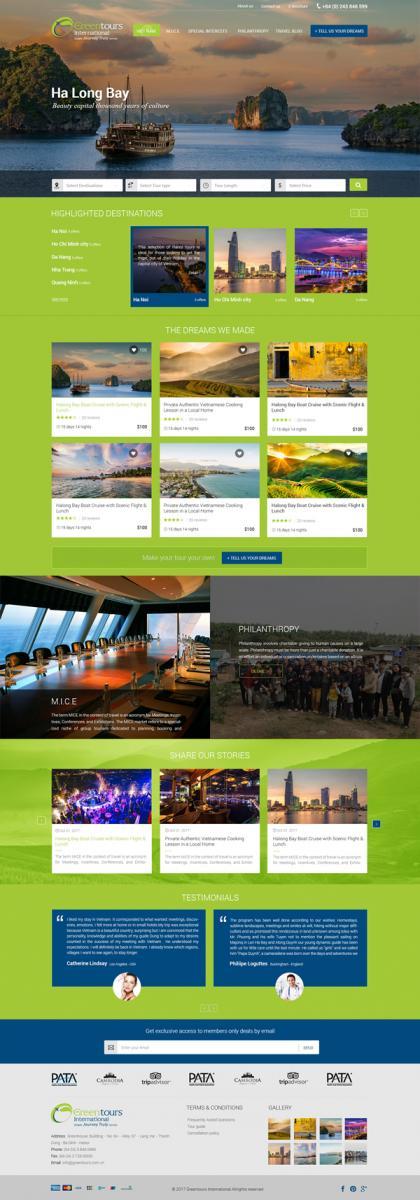 Thiết kế website du lịch, nhà hàng khách sạn